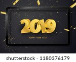 happy new year 2019 background. ... | Shutterstock .eps vector #1180376179