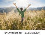 happy young girl enjoying the... | Shutterstock . vector #118038304