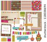 retro birthday celebration... | Shutterstock .eps vector #118038694