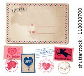 vintage love valentine postcard ... | Shutterstock .eps vector #118038700