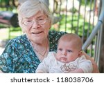 great grandmother with little... | Shutterstock . vector #118038706