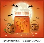 halloween sale poster design.... | Shutterstock .eps vector #1180402930