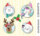 merry christmas head animals... | Shutterstock .eps vector #1180404976