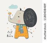 cute baby elephant.cartoon hand ... | Shutterstock .eps vector #1180408489