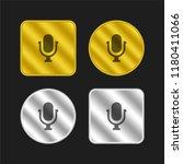 voice microphone symbol gold...