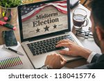 usa electronic vote concept.... | Shutterstock . vector #1180415776