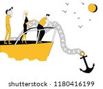 business people on boat with... | Shutterstock .eps vector #1180416199