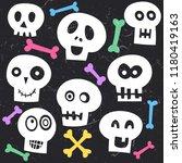 cute skull halloween character   Shutterstock .eps vector #1180419163