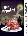 bon appetit. scary halloween... | Shutterstock .eps vector #1180424779