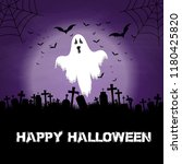 halloween background with ghost ... | Shutterstock .eps vector #1180425820