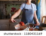 woman cook in apron and cap...   Shutterstock . vector #1180431169