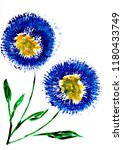 watercolor aster flowers in blue | Shutterstock . vector #1180433749