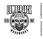 lumberman skull with beard and... | Shutterstock .eps vector #1180434463