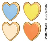 colorful cookie set with banana ... | Shutterstock .eps vector #1180436089