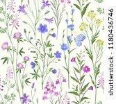 Printseamless floral pattern. meadow flowers with butterfly