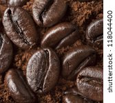 closeup coffee beans at roasted ... | Shutterstock . vector #118044400