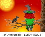 illustration of a witch sitting ... | Shutterstock . vector #1180446076