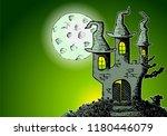 illustration of a haunted... | Shutterstock . vector #1180446079