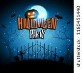 halloween with pumpkins bats... | Shutterstock .eps vector #1180451440
