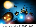 halloween pumpkin and castle... | Shutterstock .eps vector #1180451446