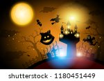halloween castle witch cat and... | Shutterstock .eps vector #1180451449