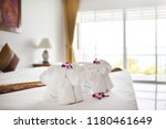 towels with elephant shape lay... | Shutterstock . vector #1180461649