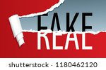 real and fake text on ripped... | Shutterstock .eps vector #1180462120