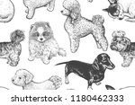 cute puppies seamless pattern.... | Shutterstock .eps vector #1180462333