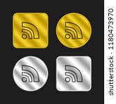 rss feed hand drawn symbol gold ...