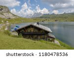 view at lake melchsee on the...   Shutterstock . vector #1180478536