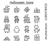halloween icon set in thin line ... | Shutterstock .eps vector #1180478923