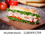 homemade sandwich with smoked... | Shutterstock . vector #1180491709