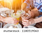 dinking ice coffee and healthy... | Shutterstock . vector #1180519063