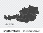 austria map vector  isolated on ... | Shutterstock .eps vector #1180522060