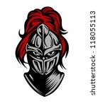 medieval dark knight in helmet. ... | Shutterstock .eps vector #118055113