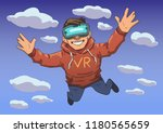 young guy in vr headset flying... | Shutterstock .eps vector #1180565659