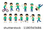 set of kid street and sport... | Shutterstock .eps vector #1180565686