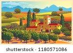rural landscape overlooking a... | Shutterstock .eps vector #1180571086