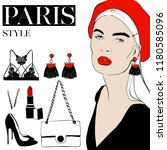 vector fashion sketch set. hand ... | Shutterstock .eps vector #1180585096