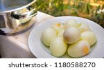 a heap of eggs in the plate. | Shutterstock . vector #1180588270