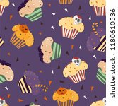 happy halloween cupcakes with... | Shutterstock .eps vector #1180610536