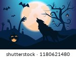 silhouette wolf with spooky... | Shutterstock .eps vector #1180621480