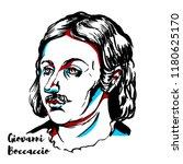 giovanni boccaccio engraved... | Shutterstock .eps vector #1180625170