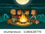 kids camping in the forest at... | Shutterstock .eps vector #1180628770