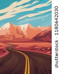 travel illustration with road... | Shutterstock .eps vector #1180642030