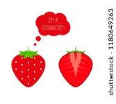 vector red ripe strawberry... | Shutterstock .eps vector #1180649263