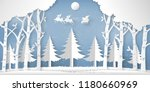 santa claus on the sky in the... | Shutterstock .eps vector #1180660969