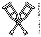wood crutches icon. outline...   Shutterstock .eps vector #1180665139