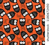 Stock vector halloween seamless pattern with cute owls and boo text 1180672450