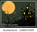 halloween background of haunted ... | Shutterstock .eps vector #1180672459